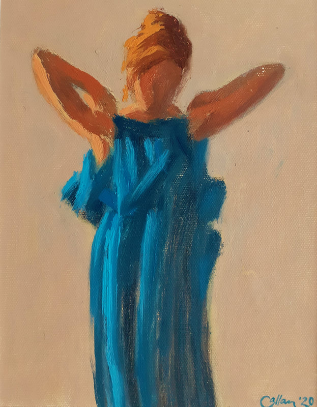 ONLY BLUE DRESS oil on canvas 24 x 19cms £180 (unframed)